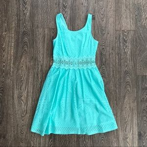 Cut Out Mint Lace Overlay Dress